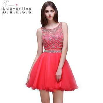 Babyonline Red Color Heavy Beaded Crystal Short Prom Dresses 2017 Sexy Backless Party Dresses Tulle Dress For Graduation