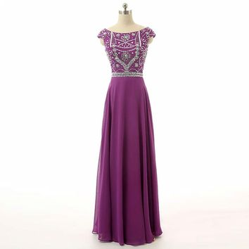 Purple A line Long Chiffon Cap sleeve Dresses Formal Gowns
