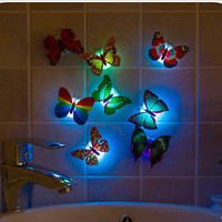 Color Changing Butterfly LED Night Light Lamp with Suction Pad Xmas Decor