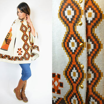 space dyed KNITTED aztec tribal BOHEMIAN ethnic geometric PONCHO southwestern cape, extra small-large