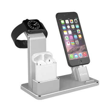 YFW Desk Mobile Station Mount For iWatch Gray Universal Charging Holder For iPhone 5 6 6s7 Charging Mobile Mount For Airpods