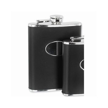 Black Genuine Leather Stainless Steel Hip Flask - Engravable Gift Item