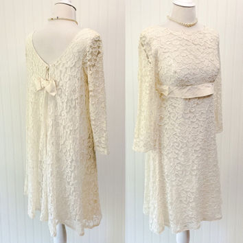 Sophie dress // 1960s ivory sheer chantilly lace empire waist dolly wedding mini // satin bow ULTRA draped // // plunging back // size S