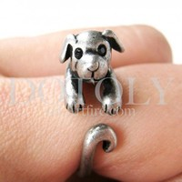 Miniature Puppy Dog Animal Wrap Ring in Silver Sizes 5 to 9 available