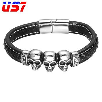 Genuine Leather Skull Stainless Steel Bracelet Vintage Braided Rope Leather Biker Cool Bracelets Bangles