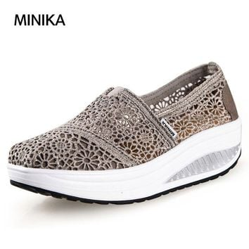 Schuhe Hollow Yarn Breathable Platform Wedge Sneakers Shoes Slimming Shoes Ladies Swing Shoes Height Increase Toning Shoe