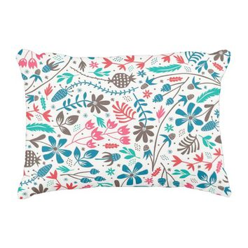 Retro Floral Pattern Accent Pillow