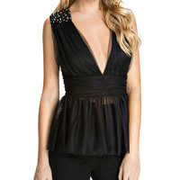 V-neck Sleeveless Ruched Mesh Peplum Top with Beads Decor