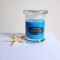 Island Time beach suntan lotion ocean soy candle light blue minimal beach wedding bridesmaids gift party favor summer tropical gift for her