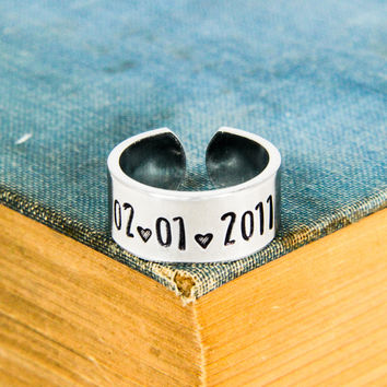 Anniversay Date Ring - Anniversary Gift - Adjustable Aluminum Ring