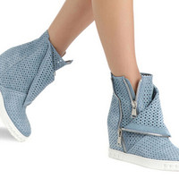 Promotion 2015 Fashion Women Casual Shoes  Round Toe Side Zipper Cut-Outs Wedges Shoes Height Increasing Shoes Women