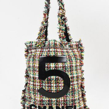 "Chanel Multicolor Plaid Tweed Fringe ""No. 5"" Shopping Tote Bag"