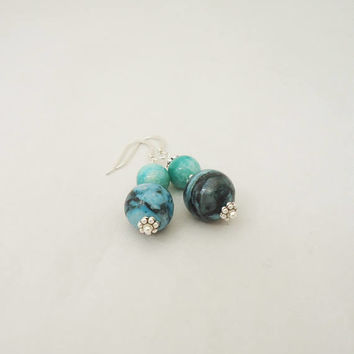 Amozonite and Chrysocolla Earrings, Gemstone Earrings, Blue Gemstone Earrings, Earrings in Blue