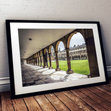 Cambridge Photography print art Arcades of College England Photo Color Art Print architecture university city Photo print poster home decor