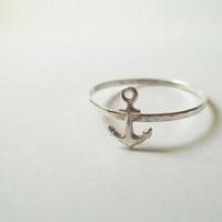 Silver Anchor Ring, Hammered Sterling Silver Ring, Handforged, Unisex Ring, Sea, Nautical Jewelry, Sailing