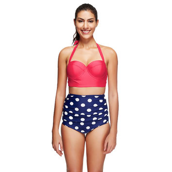 2017 New Retro Bikinis Women Swimsuit High Waisted Bathing Suits Swim Halter Push Up Bikini Set Plus Size Polka Dot Swimwear 5XL