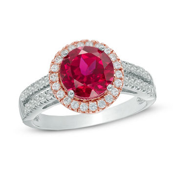 8.0mm Lab-Created Ruby and White Sapphire Frame Ring in Sterling Silver and 14K Rose Gold Plate - Size 7