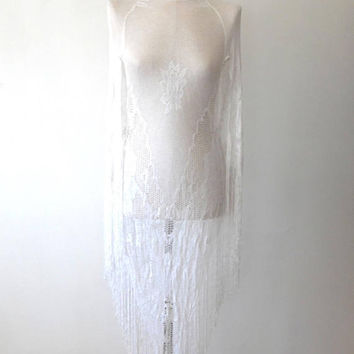 White floral lace tassel dress  / crochet dress / wing sleeve / low cut / vintage / fringed dress / maxi length / cover up / beach dress