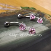 "14g Belly Button Ring 3/8"" Pink Gemstone Heart Dangle Silver Curved Barbell Pierced Navel Piercing Body Jewelry Bar Prong Set Gem 5mm Ball"