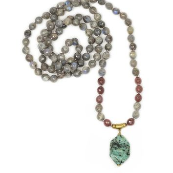 Labradorite and Purple Aventurine Hand Knotted Mala Necklace