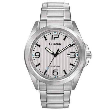 Citizen Eco-Drive Mens Sport Watch - White Dial - Stainless Steel - Date