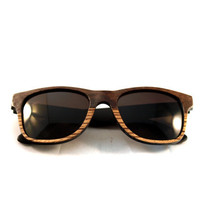 Etsy Transaction - Handcrafted Wooden Faced Sunglasses Wayfarer // Two Tone Walnut and Zebra Eyewear
