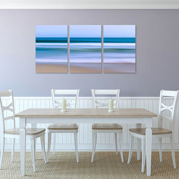 Abstract Wall Art, Canvas Triptych, 3 Three Panel Artwork, Nautical Beach Decor, Large Art Seascape Photo Nantucket Cape Cod Blue Teal Beige