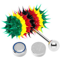 Rasta Stripe Siicone Spike Thrasher LIX Vibrating Tongue Ring | Body Candy Body Jewelry
