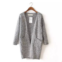 Long-Sleeve Pocket Knitted Long Cardigan