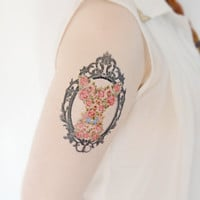 Floral Frame Temporary Tattoo - Fox, Woodland, Ink, Fake Tattoo, Large Tattoo