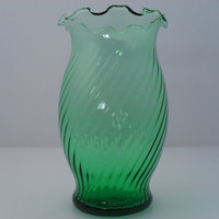 Green Glass Twisted Ribbed Ruffle Top Hand Blown Vase Estate Find c 1960s