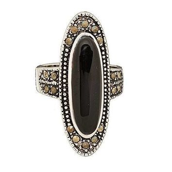 Black Onyx and Marcasite Statement Fashion Ring in Rhodium