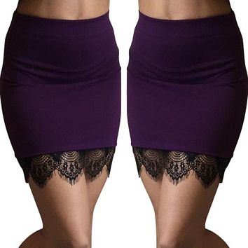 Women's Sexy Lace Stitching High Waist Mini Skirt 4 colors
