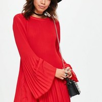 Missguided - Red Pleated Swing Dress