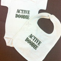 Active Doodie - Onesuit and Bib Set -  Baby Shower Gift - Military - Army - Navy - Marines - Coast Guard - Air Force - Babies - Girls - Boys