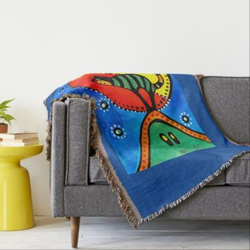 Cat and Moon Whimsical Cat Design Throw Blanket