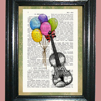 Violin with Rainbow Balloons Dictionary Page Art Print Dictionary Print Upcycled Art Print Vintage Book Page Art cp493