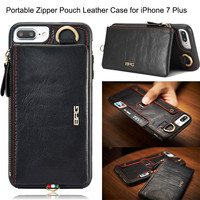 Multifunction Wallet Real Leather Case For iPhone 7 7 Plus 6S 6 Plus Portable Removable Zipper Purse Pouch Phone Cases With Hook