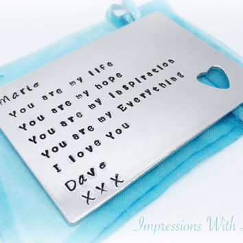 Hand stamped personalised wallet insert card with cut out heart- gift for him - anniversary gift - personalized love note - Valentine's Day