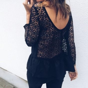 ruffles Elegant women blouses shirts top  lace patchwork backless blusas long sleeve Elegant causal shirts femme gv327