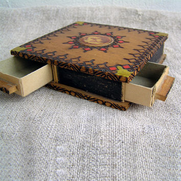 Matchbox, Wood box for matches, 4 sections, eko-friendly, Storage box, Treasure box, Woodworking, Handmade,  Home decor,  Gift, y wealth