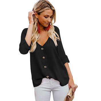 Black Button Detail Roll up Long Sleeve Blouse