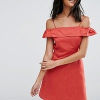 ASOS Cold Shoulder Sundress in Linen at asos.com