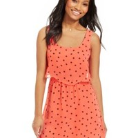 B Darlin Juniors' Sleeveless Polka-Dot Print Dress