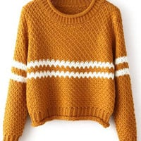 Yellow Round Neck Striped Crop Knit Sweater -SheIn(Sheinside)