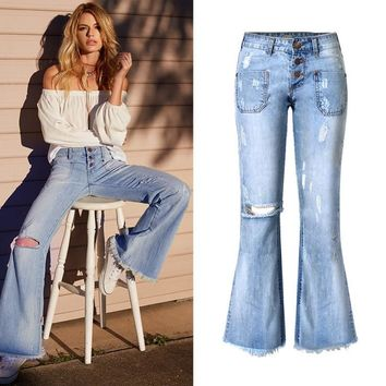 Women's jeans Retro Loose Ripped Hole Tassel pocket Button Wide leg pants luxury Fashion Punk Blue jeans for Woman good quality