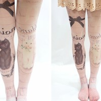 Cute cat Pastel Goth Printed Tights - Pink