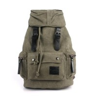 Vere Gloria Men's String Canvas Backpack for Picnic Travel School Laptop Multifunction (Army Green)