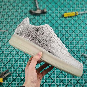 New Nike Air Force 1 AF1 Low Silver White With Crystal Glint - Best Online Sale