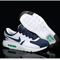 Nike Air Max Casual Sports Shoes Suitable for men and women Sneakers (white navy blue hook) H-MDTY-SHINING